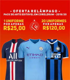 KIT de Vetores Exclusivo das camisas de futebol dos Campeonato Internacionais  2019/2020.
