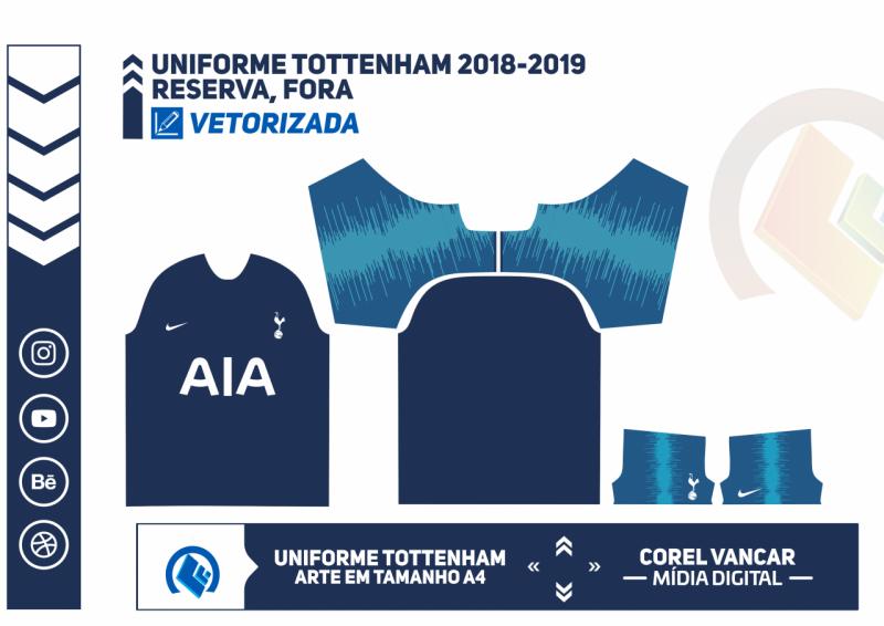 Uniforme Tottenham 2018 2019 Reserva Fora