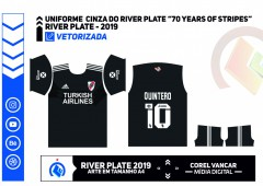 Uniforme Cinza  River Plate em celebração aos 70 da marca, fundada em 1949