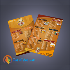 Cardápio para Restaurante, Lanchonete, Treyler - Frente e Verso