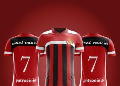 Modelo de Camisa Futebol - nas Cores Preta, Vermelha e Branca