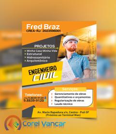 Panfleto Engenharia Construtora,  Arquitetos, Empresas de Engenharia, e Design de Interiores,