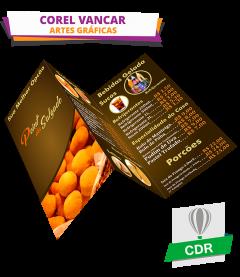 Folder Duas Dobras para Lanchonete  e Estabelecimentos do ramo alimentício